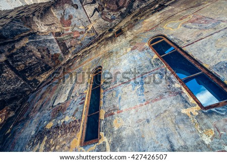 Church of the Dormition in Vardzia cave monastery in Samtskhe-Javakheti region, Georgia - stock photo