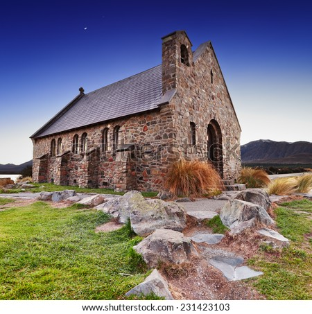 Church of the Good Shepherd at sunrise, Lake Tekapo, New Zealand - stock photo