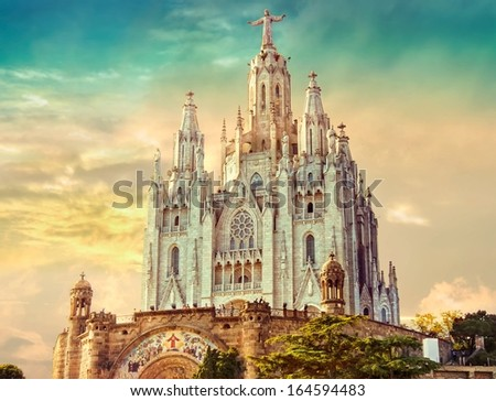 Church of the Sacred Heart of Jesus,located on the summit of Mount Tibidabo in Barcelona, Catalonia, Spain - stock photo