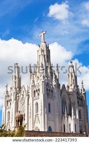 Church of the Sacred Heart of Jesus (Temple Expiatori del Sagrat Cor) on summit of Mount Tibidabo in Barcelona, Catalonia, Spain - stock photo