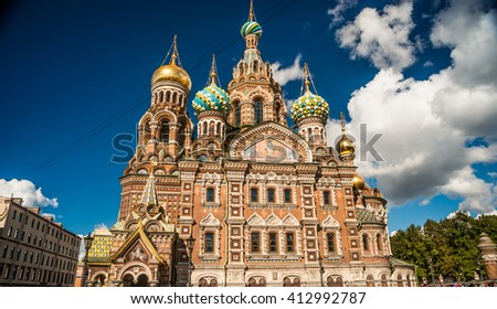 Church of the Savior on Blood in Saint-Petersburg, Russia. One of the main touristic attractions in the city. - stock photo