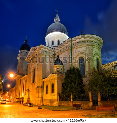 Church of Transfiguration in Lviv at night. Ukraine, Lvov - stock photo