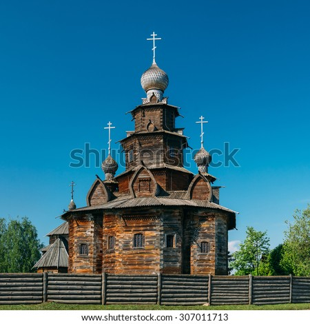 Church of Transfiguration in Old Russian Town - Suzdal, Russia. Preobrazhenskaya church from village Kozlyatevo, transported in Suzdal - monument of wooden architecture of middle of the XVIII century. - stock photo