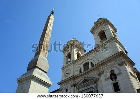 Church of Trinita dei Monti and Spanish Steps in Rome, Italy - stock photo