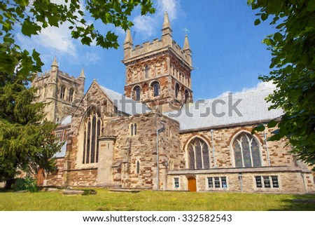 Church of Wimborne Minster Dorset England Uk illustration like oil painting  - stock photo