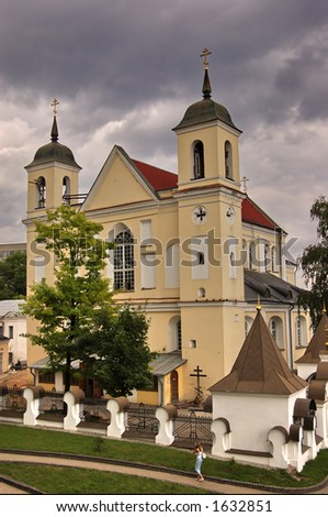 church on  dull sky background - stock photo