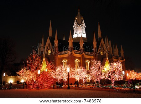 Church on Temple Square, Salt Lake City - stock photo