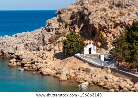 Church on the beach, Lindos, Rhodes, Greece - stock photo