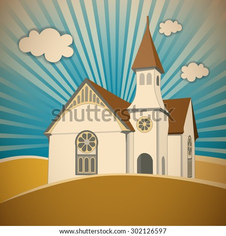 Church on the Hill, house of worship with steeple, tower and spire in landscape. Graphic illustration. - stock photo