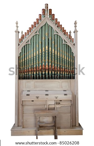 Church organ isolated on white - stock photo