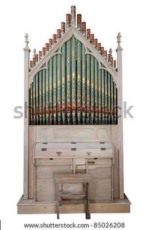 Church organ isolated on white - stock photo