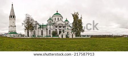 Church panorama in the village Exit the Nizhny Novgorod Region. - stock photo