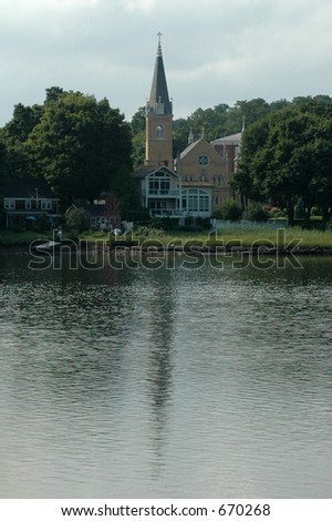 Church Reflected in Water - stock photo