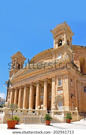 Church Rotunda of Mosta on Island Malta from the right side  - stock photo
