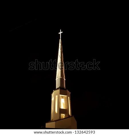 Church Steeple at night - stock photo