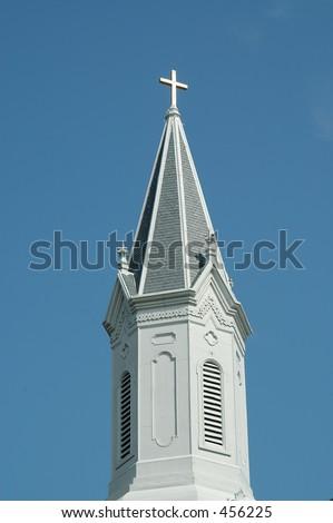 Church steeple, Savannah, Georgia - stock photo