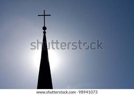Church Steeple Silhouette - stock photo