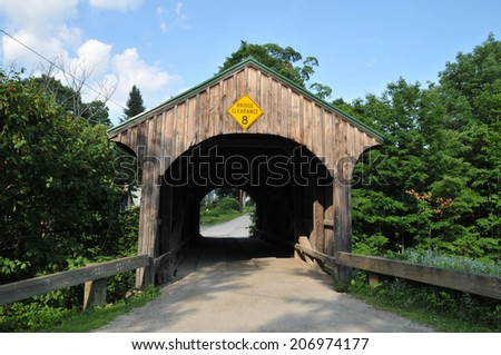 Church Street covered bridge in Waterville, Vermont - stock photo