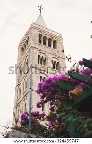 Church tower in city of Rab, Croatia - stock photo