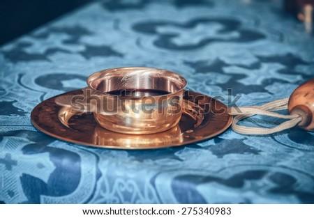 church utensil on an altar - stock photo
