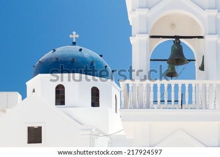 Church whit white walls at Santorini Greece - stock photo