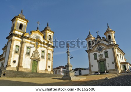 Churchs in square - Mariana - Minas Gerais - Brazil - stock photo