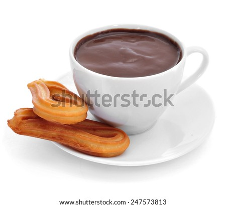 churros con chocolate, a typical Spanish sweet snack, on a white background - stock photo