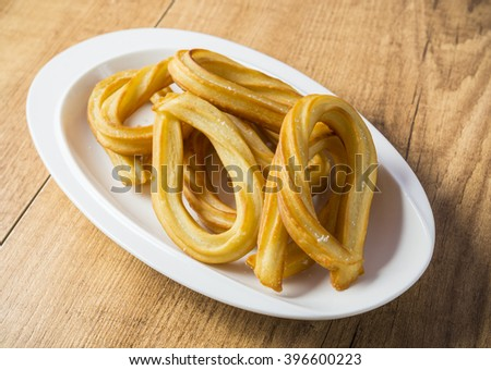 Churros in Madrid,typical food - stock photo