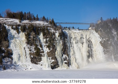 chute montmorency waterfall in quebec - stock photo