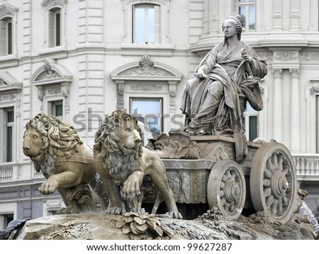 Cibeles fountain in Madrid - stock photo