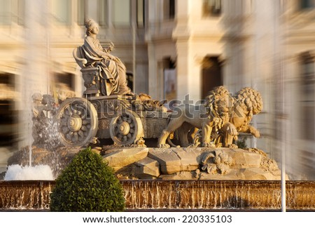 cibeles fountain,madrid,spain,zoom effected  - stock photo