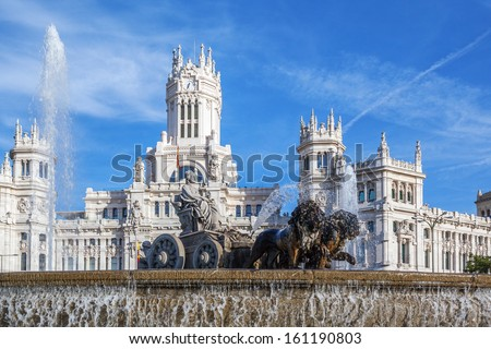 Cibeles Palace and fountain at the Plaza de Cibeles in Madrid, Spain - stock photo