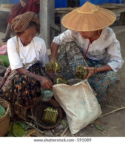 Cigar / Cigarette / Cheroot Traders   Myanmar (Burma) - stock photo