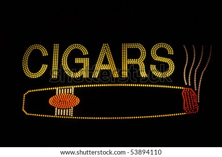 Cigar Neon Light Sign with Icon - stock photo