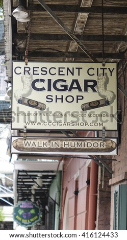 Cigar shop in New Orleans French Quarter - NEW ORLEANS, LOUISIANA - APRIL 18, 2016  - stock photo