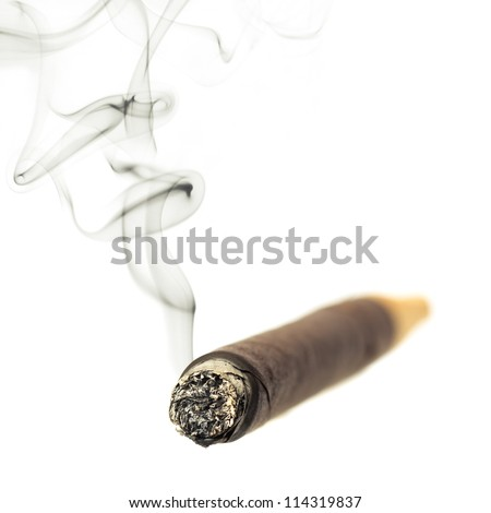 Cigar with smoke isolated over white background - stock photo