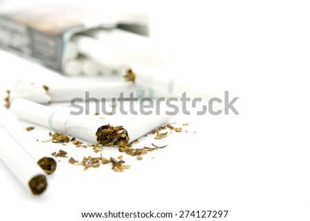 Cigarette broken isolated on white background. World no tobacco day, 31 may. - stock photo
