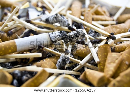 Cigarette burns close-up - stock photo
