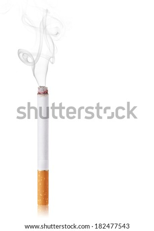 Cigarette burns. Isolated on white background - stock photo