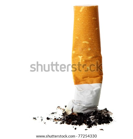 Cigarette butt close-up isolated on the white background - stock photo