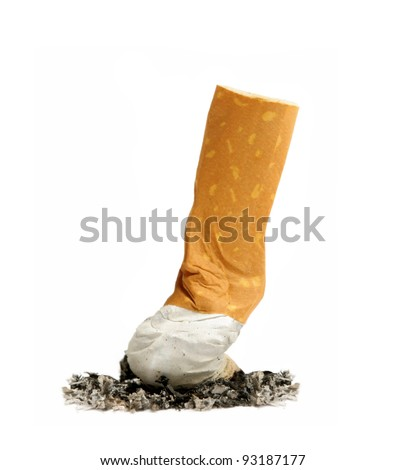 cigarette butt with ash isolated on white - stock photo