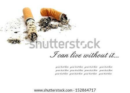 Cigarette butts with ash isolated on white background - stock photo