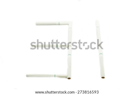 Cigarette isolated on white background. World no tobacco day, 31 may. - stock photo