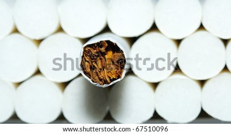 Cigarette on a background white filters - stock photo