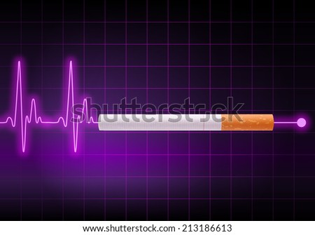 Cigarette on violet heart rate monitor stopping the heartbeat line - Anti Smoking campaign - Health hazard - stock photo