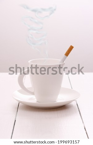 Cigarette smoke as text food, health concept, close up - stock photo