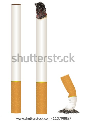 Cigarette Stages from New to Put Out - stock photo
