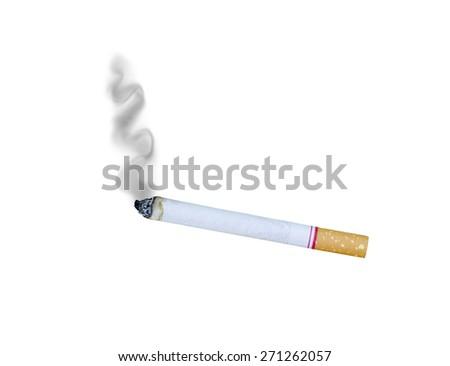Cigarette Tobacco with Dark Smoke on White Background - stock photo