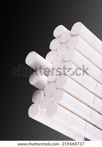 Cigarette white, black background with a gradient - stock photo