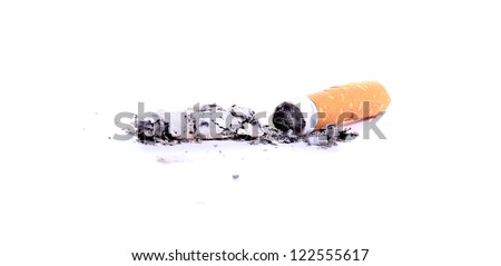 cigarette with ash - stock photo